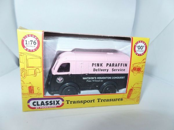 Classix EM76693 1/76 OO Scale Austin K8 3 Three Way Van Pink Paraffin